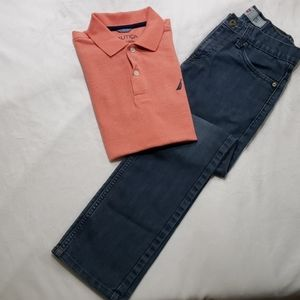 Levi's boy jeans and polo shirt.